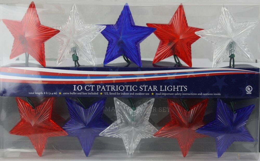 Patriotic String Lights Outdoor : 4th of July 10 Red White & Blue Patriotic Star Lights Set Indoor/Outdoor 8 Ft eBay