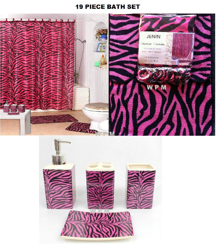 Complete Bath Accessory Set PINK Zebra PRINTED Bathroom