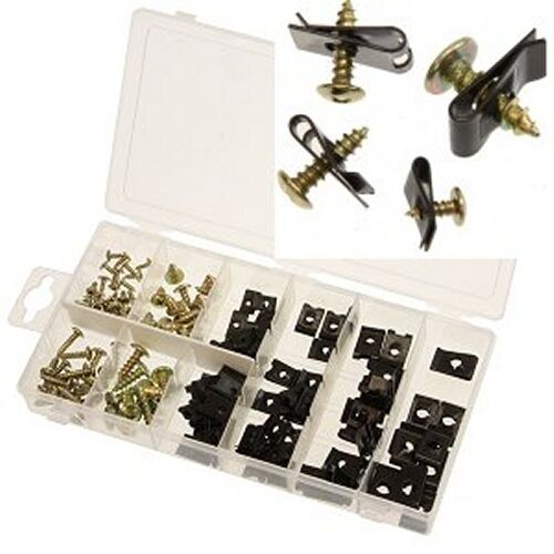 170 pc car door panel clip set screw assortment set interior trim metal auto kit ebay. Black Bedroom Furniture Sets. Home Design Ideas