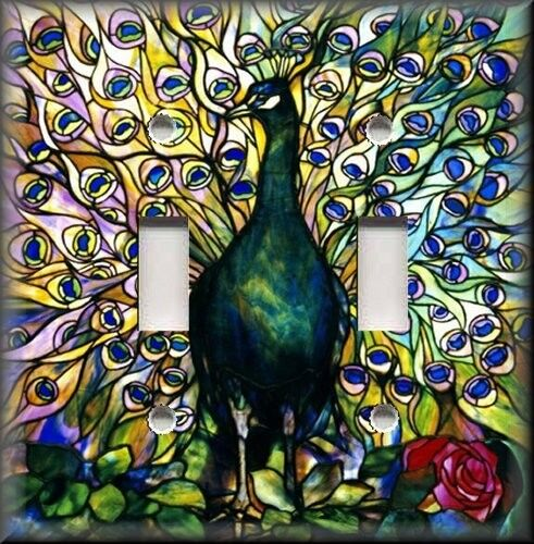 Light Switch Plate Cover Colorful Peacock Bird Home