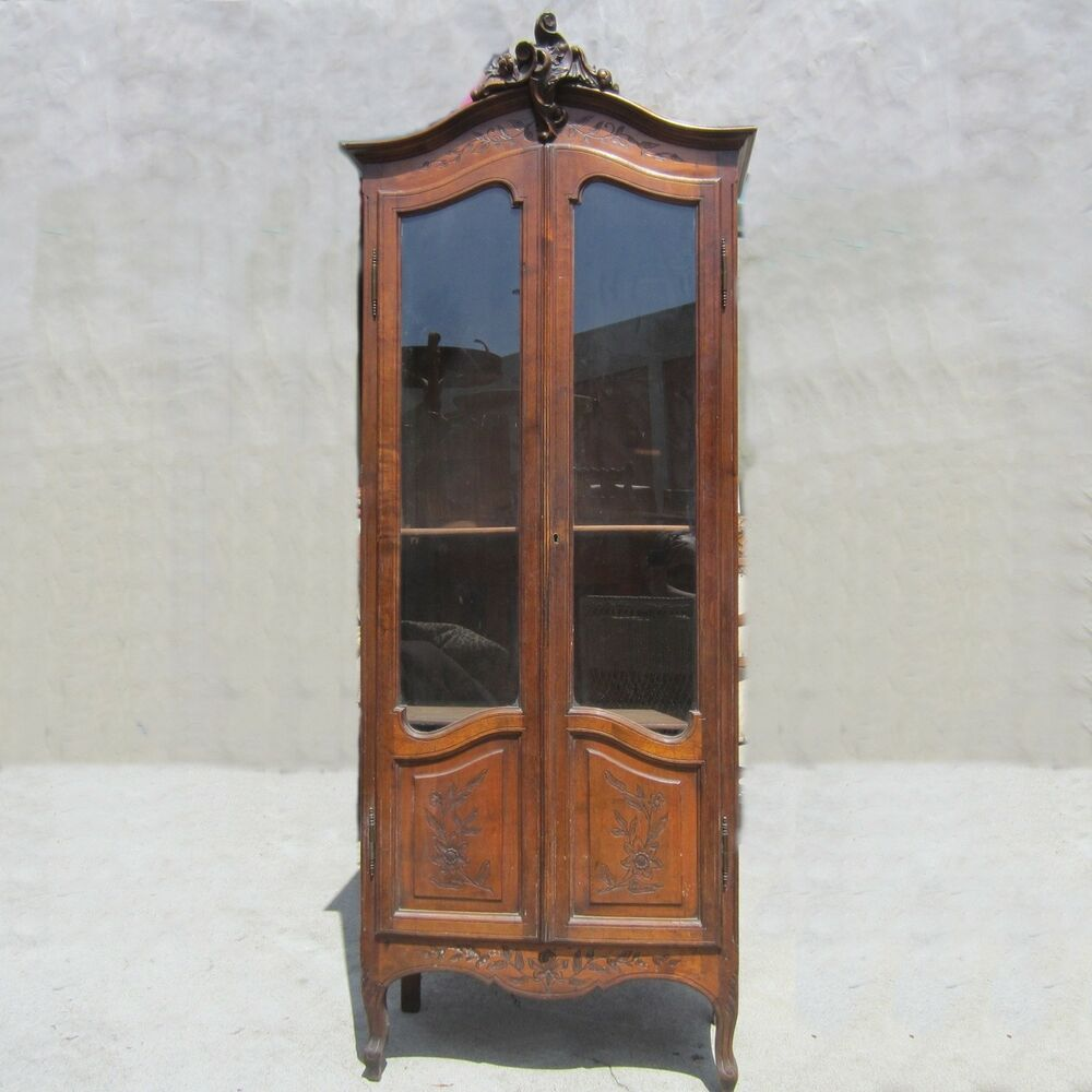 antique imported french louis the fifteen tag re china book cabinet armoire ebay. Black Bedroom Furniture Sets. Home Design Ideas
