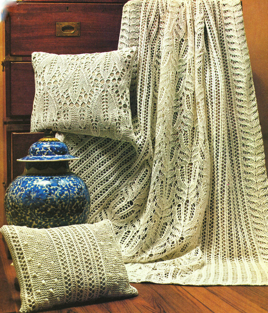 Vintage Leaf Knitting Pattern : Antique Frost Lace Throw & 2 Cushions Leaves & Flowers ...