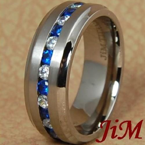 8mm titanium wedding band mens ring blue white diamonds for Mens wedding ring with blue diamonds