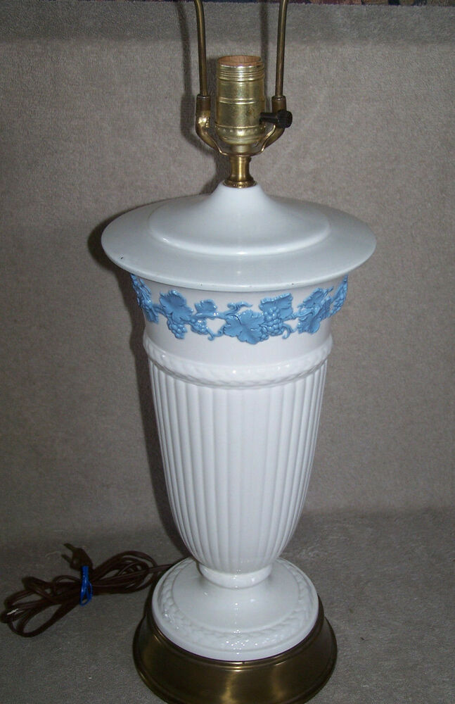 Vintage Large Wedgewood Queensware Embossed Lamp Lavender