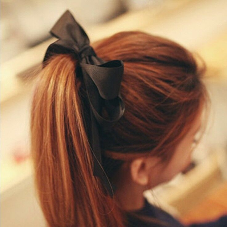 Hot Womens Multicolor Satin Ribbon Bow Hair Band Rope ...