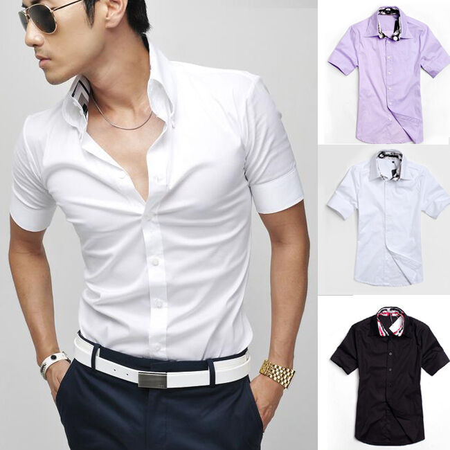 Korean men clothing short sleeve slim fit shirts blouse for Fitted short sleeve dress shirts