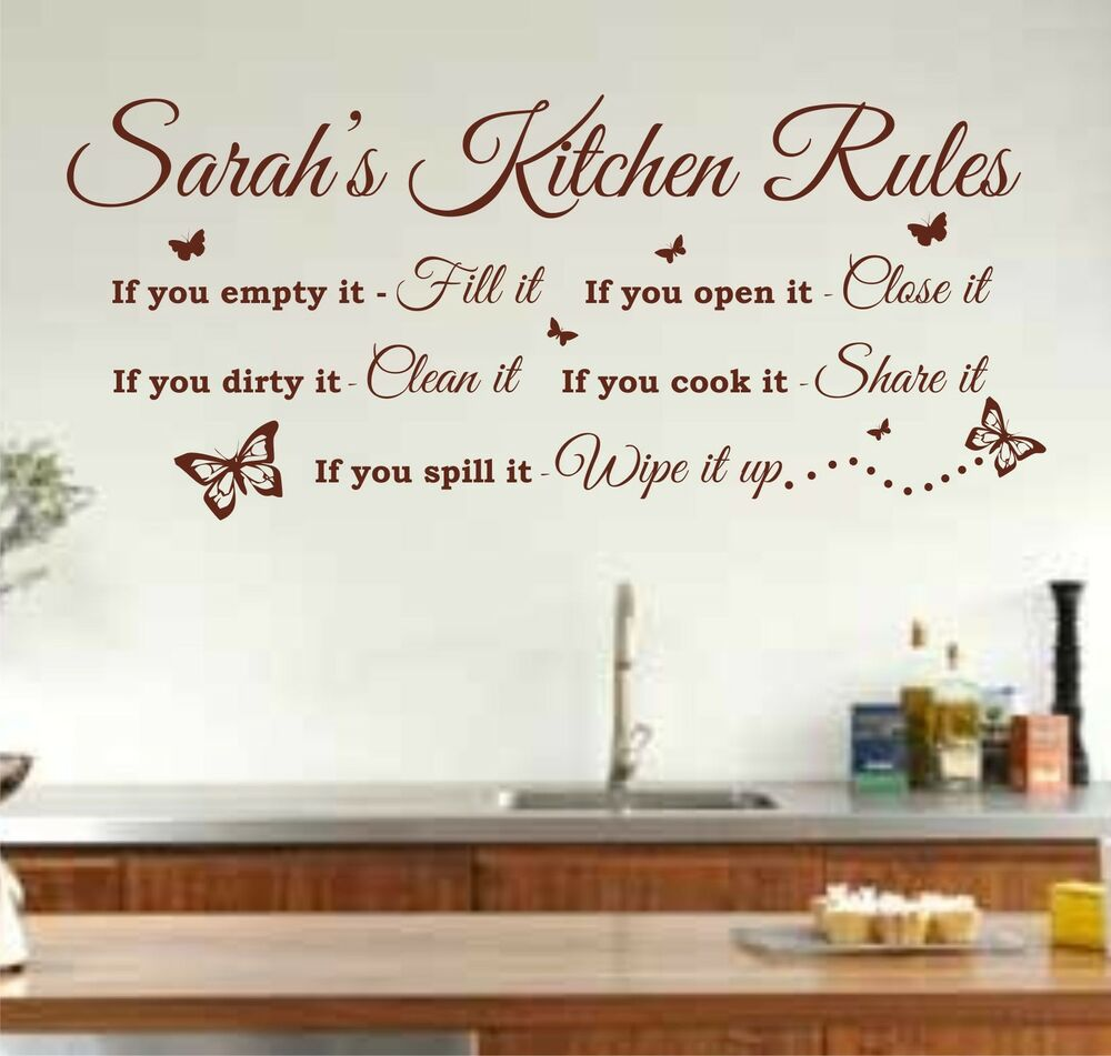 Personalised kitchen rules quote wall art sticker decal for Kitchen quotation