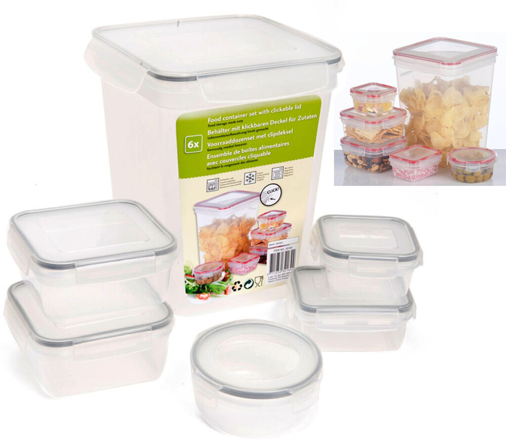 new 6 x clear plastic food storage box containers with clickable lids airtight ebay. Black Bedroom Furniture Sets. Home Design Ideas