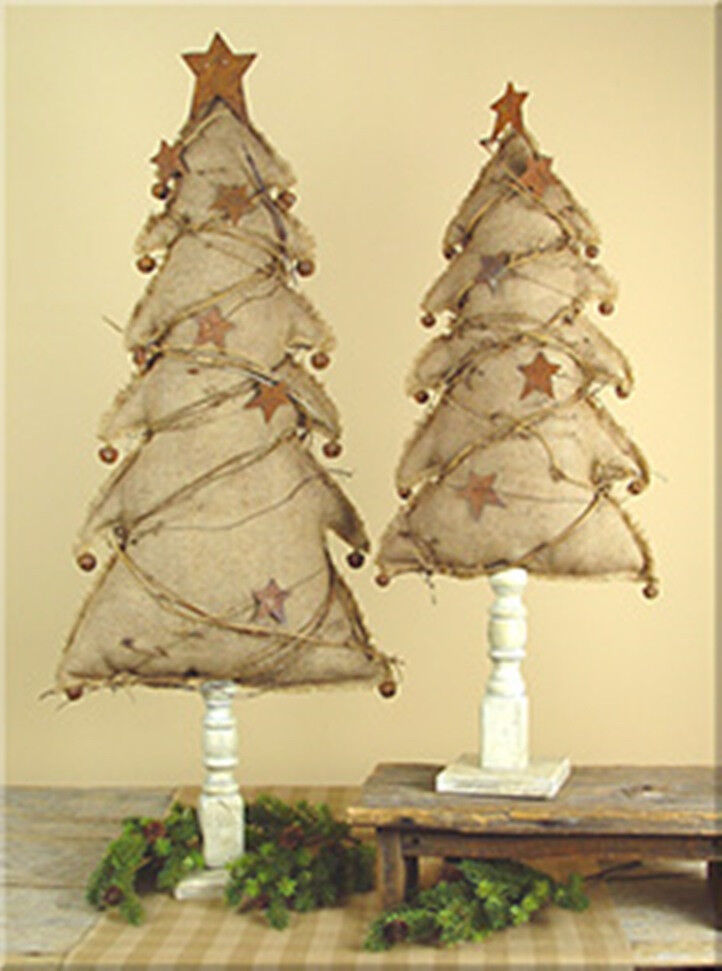 Burlap christmas tree on wood spindle base with rustic