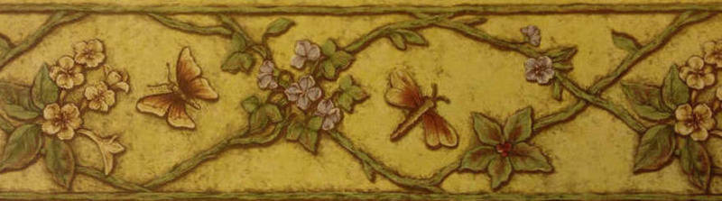 vine wallpaper border with butterflies dragonflies and