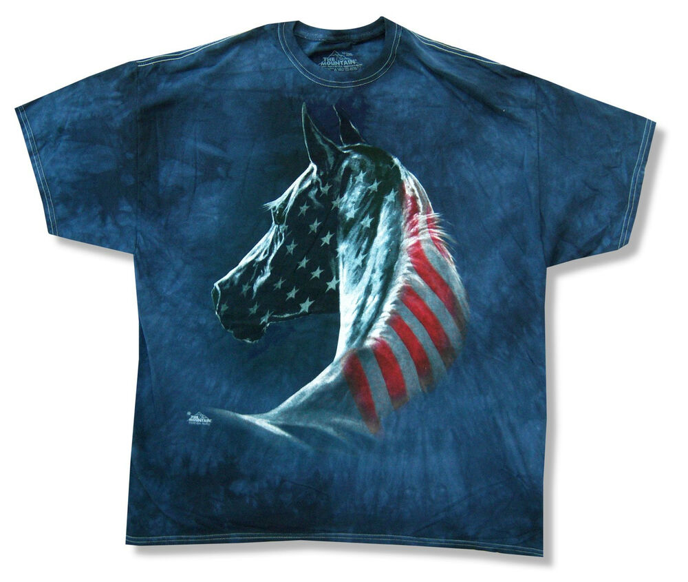 The Mountain Flag Horse Navy Blue Tie Dye T Shirt New