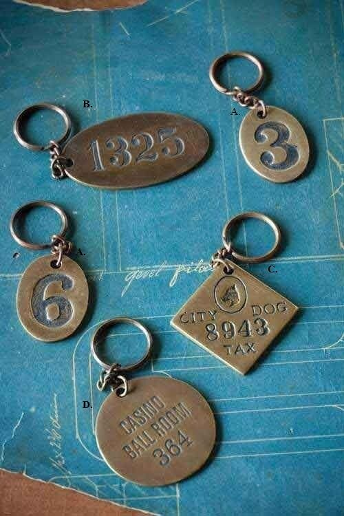 Heavy solid antiqued key chain numbers casino or dog tag compass ebay - Vintage hotel key rack ...