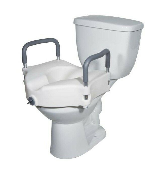 Locking Raised Toilet Seat With Padded Arms Ebay