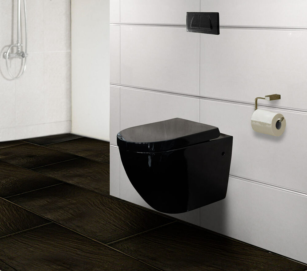 design wand h nge wc h nge toilette wc soft close sitz bad keramik 3673 schwarz ebay. Black Bedroom Furniture Sets. Home Design Ideas