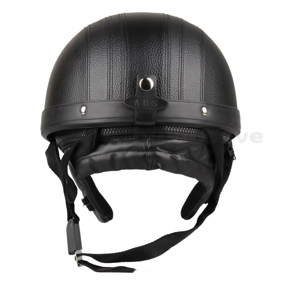 Motorcycle Scooter Open Face Helmet Black Visor Goggles