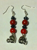 Handmade ATLANTA FALCONS Football Team Colors Dangle EARRINGS Pearl & Crystal