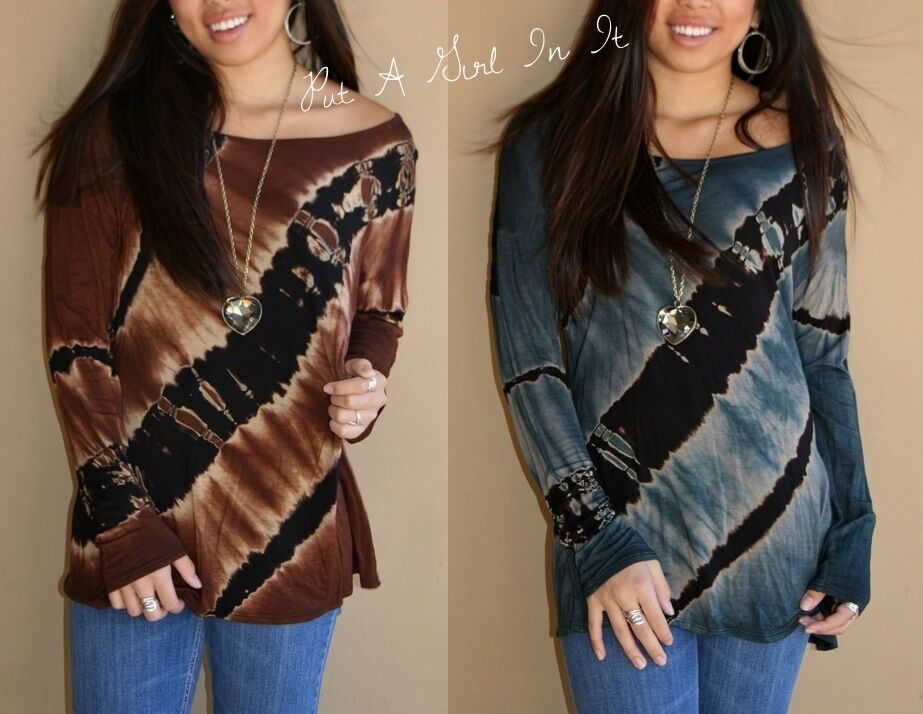 plus size blue brown lace back tie dyed dye long sleeve shirt tunic top 1x 2x 3x ebay. Black Bedroom Furniture Sets. Home Design Ideas