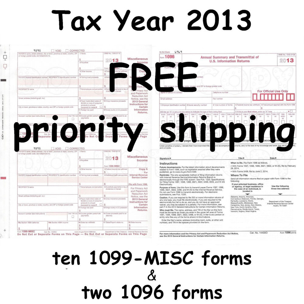 Ten 1099-MISC Miscellaneous Income 2013 IRS Tax Forms & 2 1096 ...