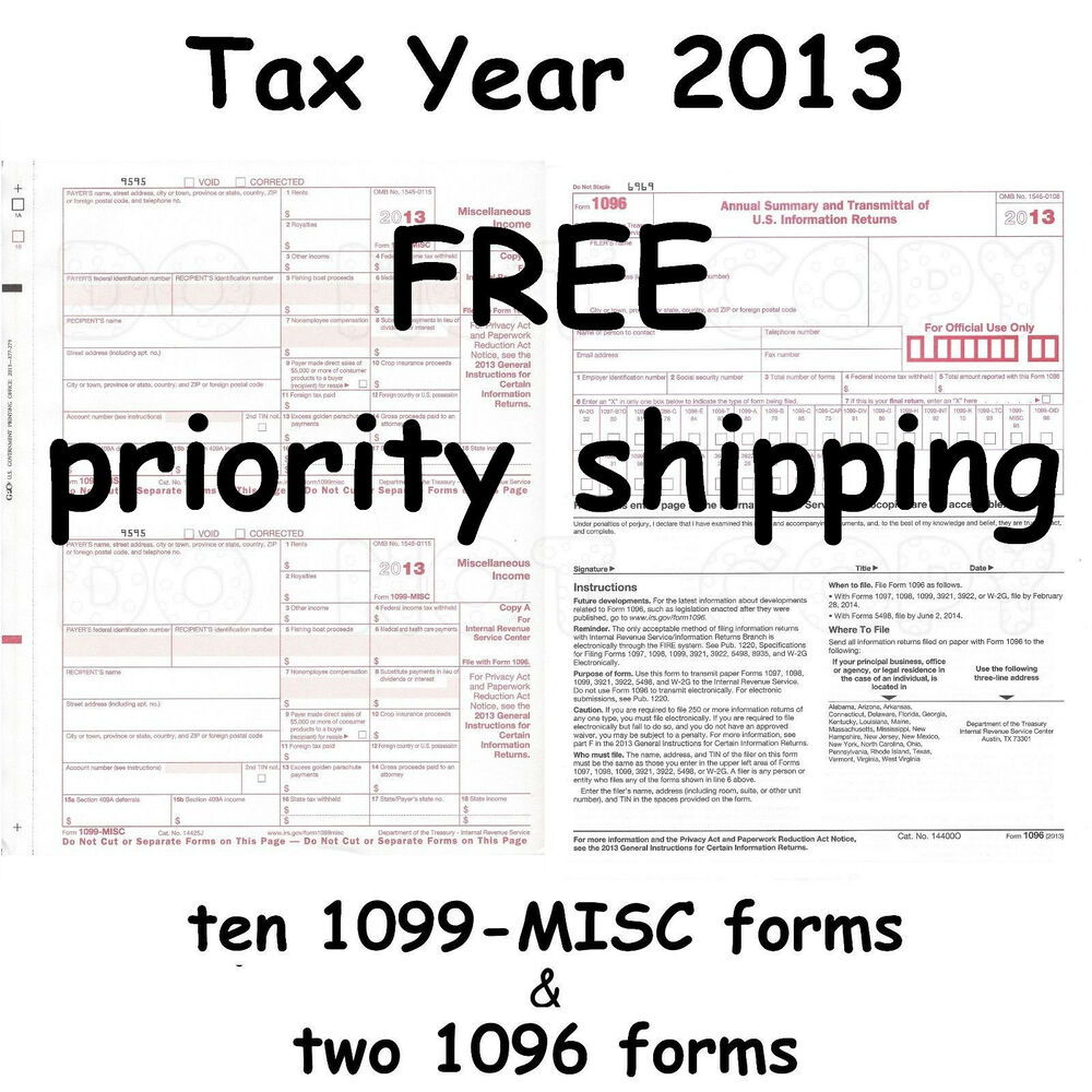 Ten 1099-MISC Miscellaneous Income 2013 IRS Tax Forms & 2