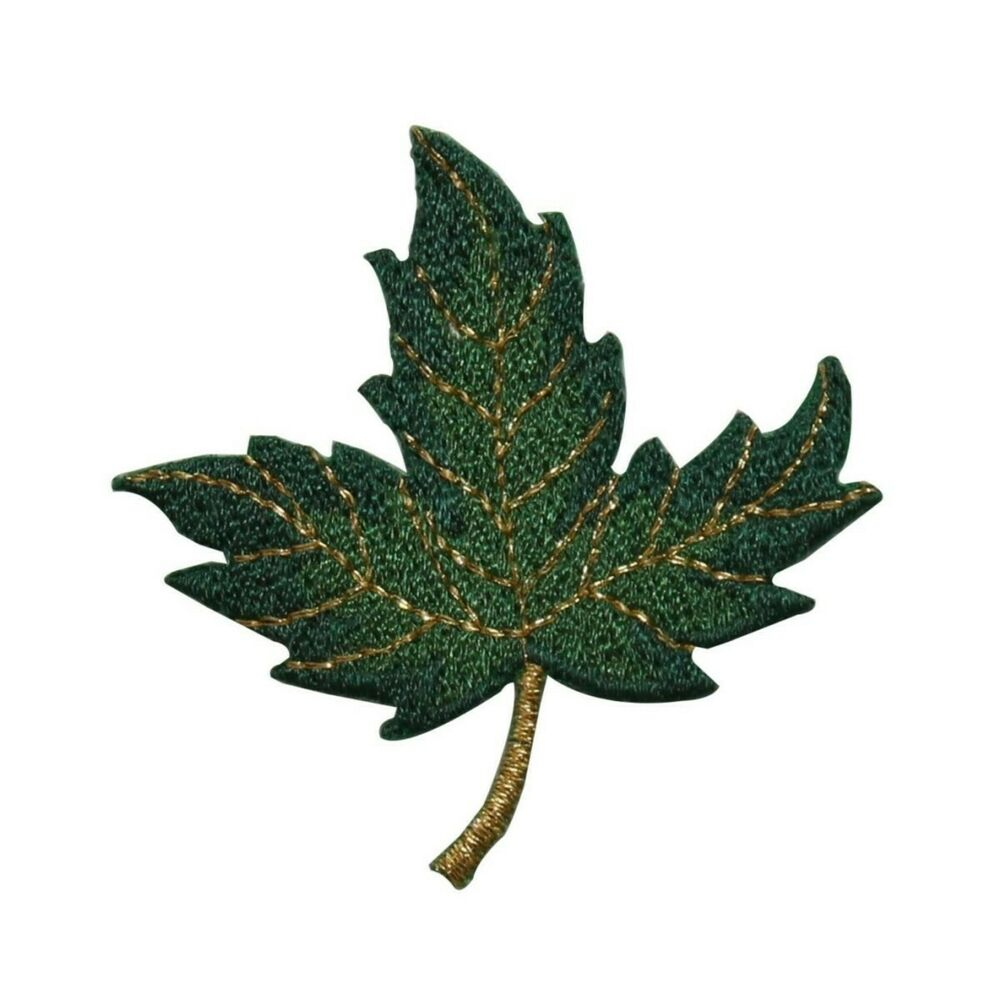 Id green and gold maple leaf leaves iron on
