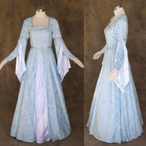Discount Fantasy Fairy Medieval Gothic Wedding Dresses: Medieval Renaissance Light Blue And White Gown Dress