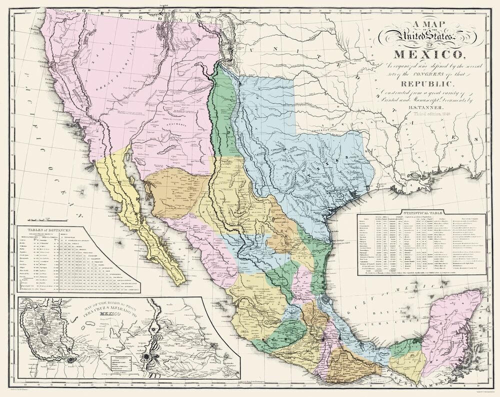 Old Mexico Map - Mexican States - Tanner 1846 - 23 x 28.97 | eBay