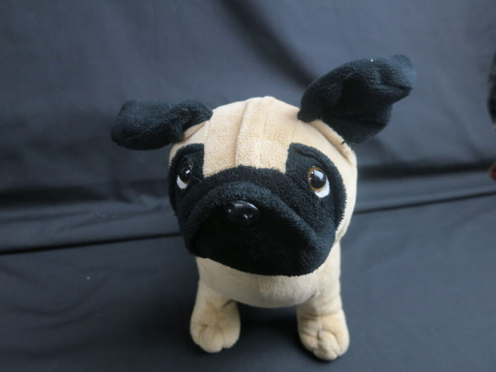 black pug stuffed animal animal adventure tan black pug puppy dog lifelike plush 2437
