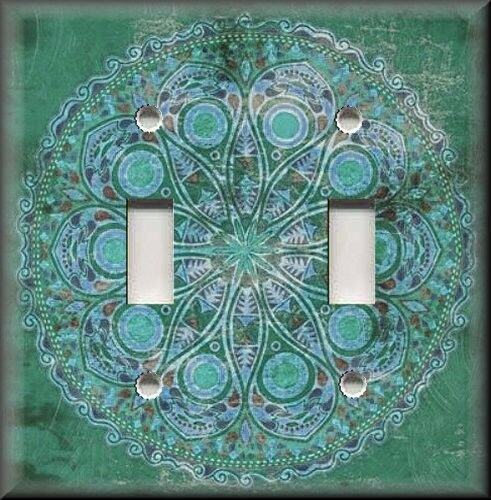 Teal Medallion Wall Decor : Light switch plate cover boho medallion teal persian