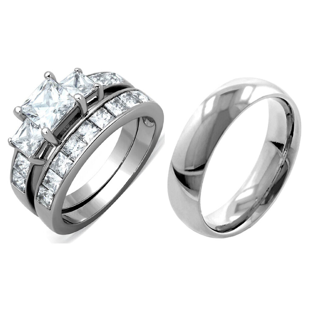Stainless Steel Wedding Rings: 3 PCS Stainless Steel His & Her Engagement/Wedding
