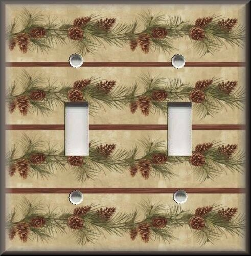 light switch plate cover pine tree pine cones rustic