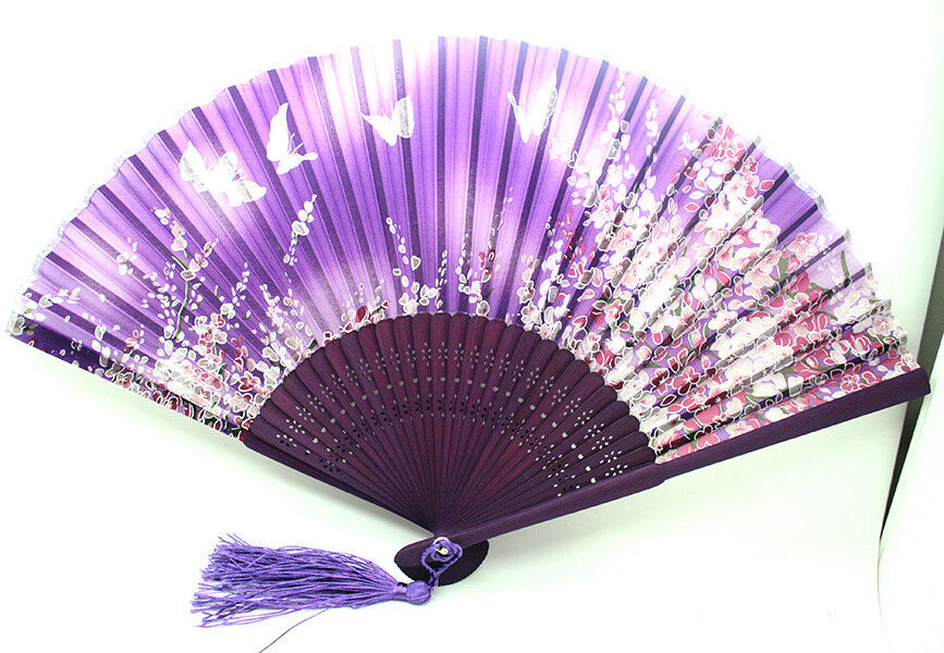 Hand Held Fans : Purple japanese hand held flower butterfly silk bamboo