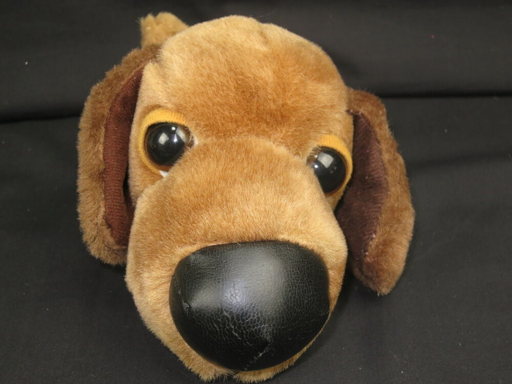 Large Toy Dogs : Brown puppy dog big eyes nose soft huggable plush