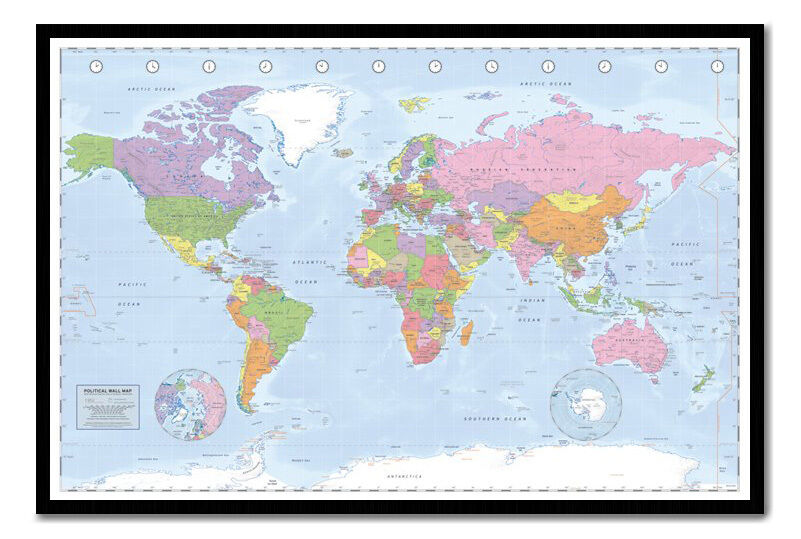 Miller Political World Map Pinboard Cork Board Choice Of Frame Colours