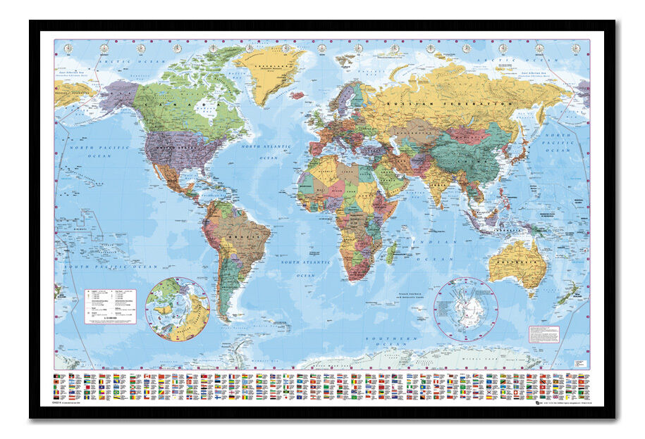 World Map Flags Pinboard Quality Framed Cork Board With Pins Ready