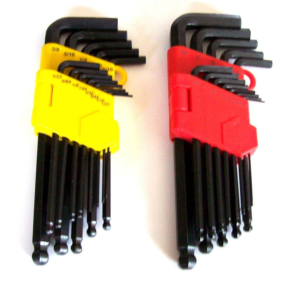 26pc goliath industrial allen ball point end long arm hex key wrench set sae mm ebay. Black Bedroom Furniture Sets. Home Design Ideas