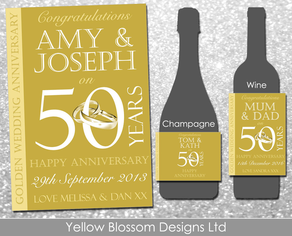 personalised wine champagne bottle label golden wedding With 50th wedding anniversary wine bottle labels