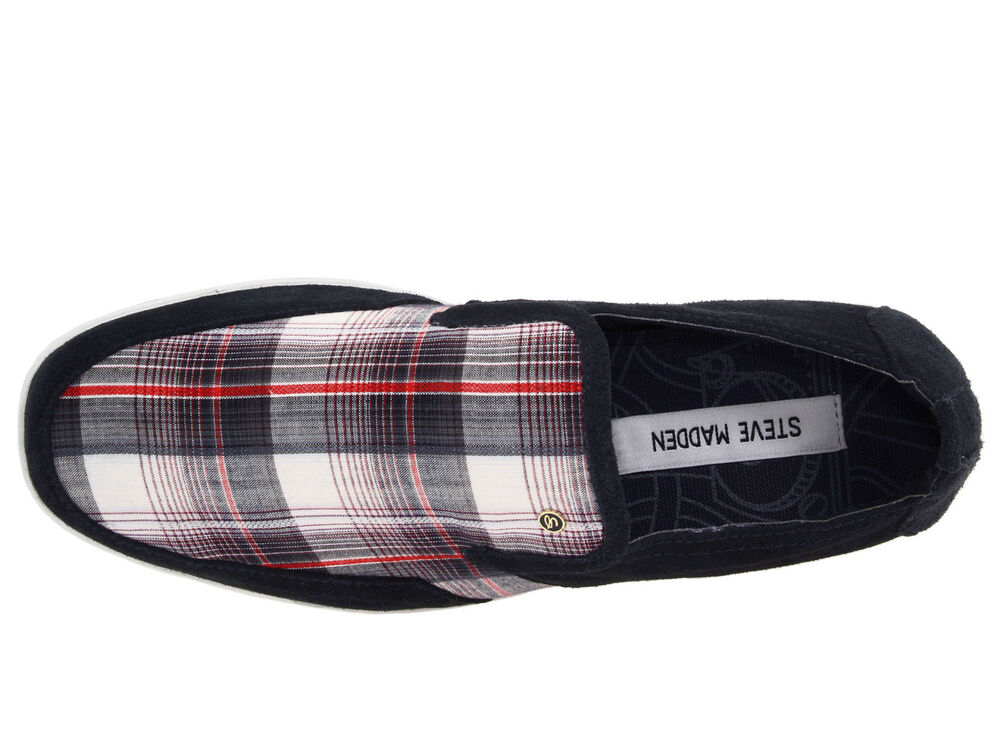 new steve madden faderr plaid slip on shoes mens 7 loafers