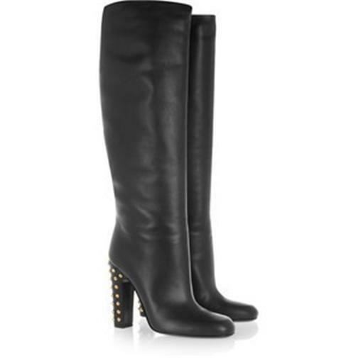 gucci black leather studded heels knee high pull on
