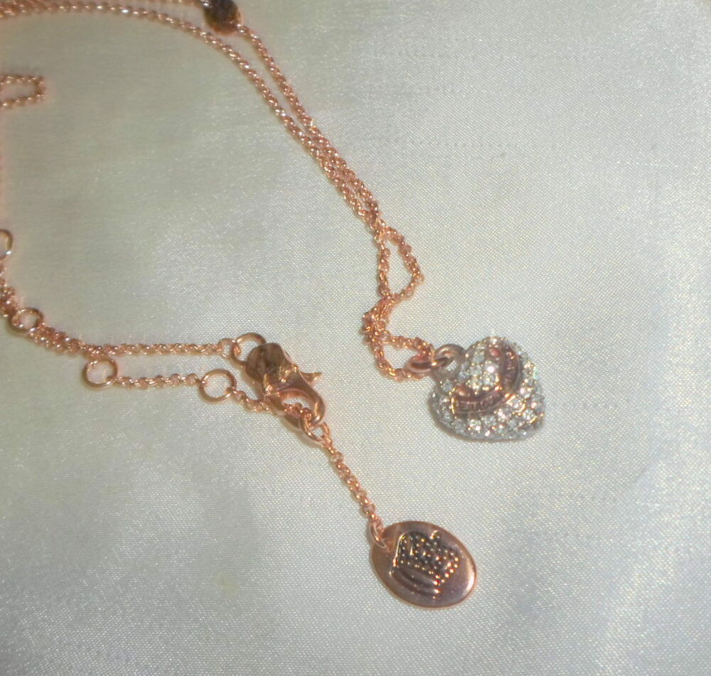 Juicy couture necklace with rhinestone heart pendant ebay for Juicy couture jewelry necklace