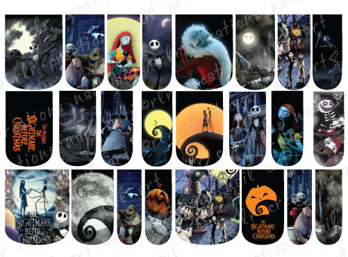 24 Water Slide Nail Art Decals Nightmare Before Christmas Full Nail Covers Ebay