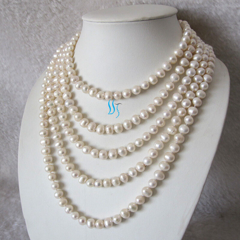 """White Pearl Pendant Necklace: 100"""" 7-9mm White Freshwater Pearl Necklace Strand Cultured"""