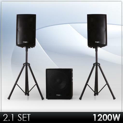 2 1 aktiv dj pa system lautsprecher anlage subwoofer. Black Bedroom Furniture Sets. Home Design Ideas