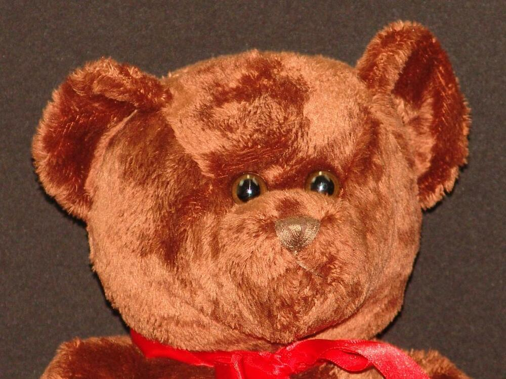 BIG RED BOW GALERIE CHOCOLATE BROWN SOFT TEDDY BEAR PLUSH ...