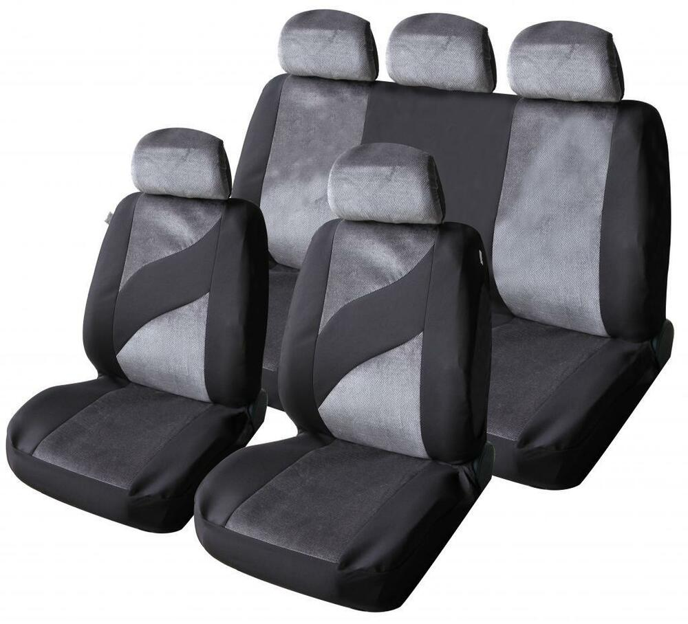 car seat covers protectors universal washable ready dog grey velour front rear ebay. Black Bedroom Furniture Sets. Home Design Ideas