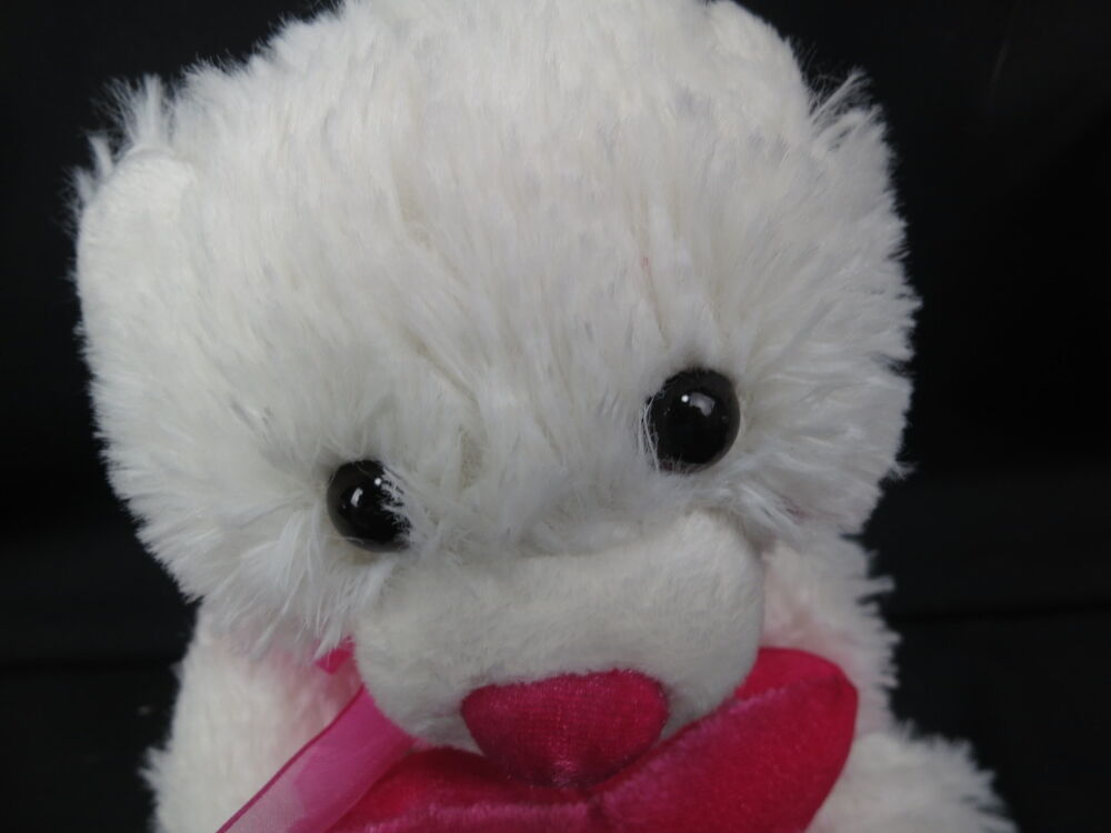 WHITE PINK VALENTINES TEDDY BEAR ONLY YOU HEART WALMART