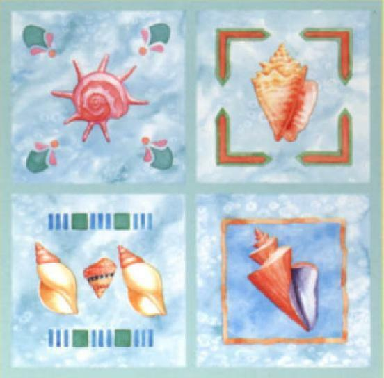 tile stickers bathroom sea shells seashell tiles bath 12 tile cover stick ups 14703 | s l1000