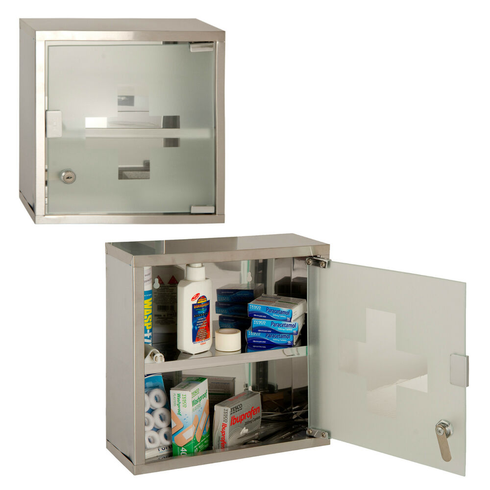 Wall Mounted Lockable 2 Keys Medicine Cabinet Cupboard
