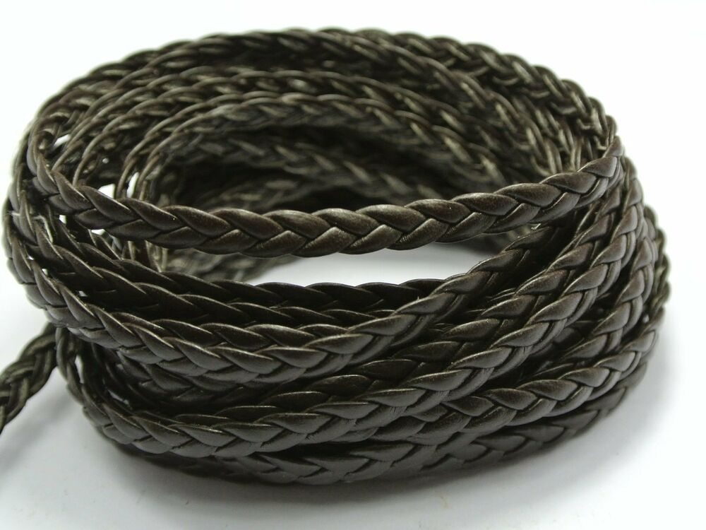 32 8 Feet Brown Flat Braided Bolo Synthetic Leather String
