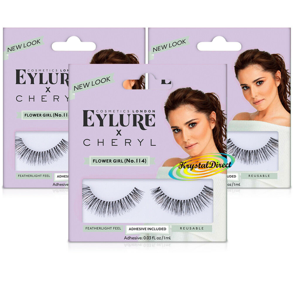 3a38cbcfdfe 3x Eylure Cheryl Lengthening No.114 False Eyelashes Fluffy Angled Finish  696597553496 | eBay