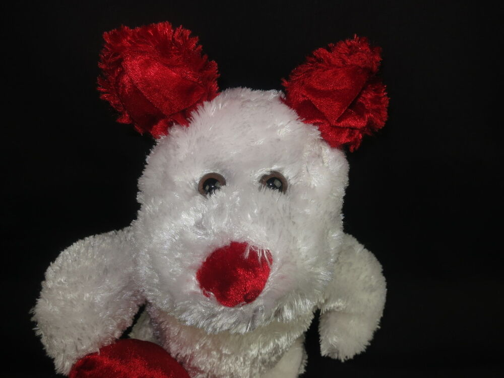Valentine S For Dogs Toys : Big red white kiss me heart valentines puppy dog plush